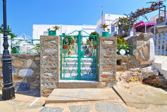 Traditional houses with bougainvilleas at Sinfos island Greece Stock Photos