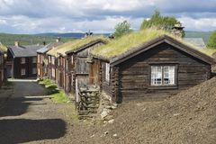 Traditional houses of the copper mines town of Roros, Norway. Stock Images