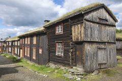 Traditional houses of the copper mines town of Roros, Norway. Royalty Free Stock Photo