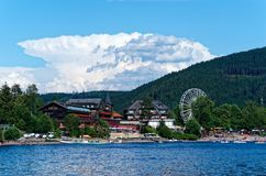 Titisee lake in Black forest national park against amaizing cloudy sky. Germany stock image