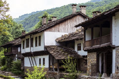 Traditional houses froom east Europ. Traditioonal hoouse from wood and stone stock photography