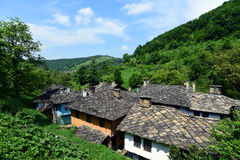 Traditional houses froom east Europ. Traditioonal hoouse from wood and stone royalty free stock photography