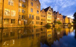 Traditional Houses in Ghent, Belgium At Night Royalty Free Stock Photography