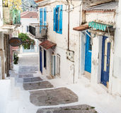 Traditional houses on the greek Islands in blue colors. Royalty Free Stock Images