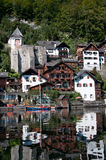 Traditional houses of Hallstatt with reflection Stock Photography