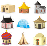 Traditional houses House Igloo Hut Shack Slum Cabinet Cottage Ca. Set of traditional houses cartoon illustration