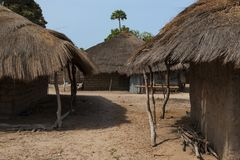 Traditional houses huts at the village of Eticoga in the island of Orango. Guinea Bissau royalty free stock photo