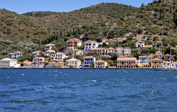 Traditional houses at Ithaki island Royalty Free Stock Photo