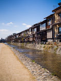 Traditional Houses @ Kamo River, Kyoto , Japan. Traditional houses line the edges of the Kamo river in Kyoto, Japan. Image taken on 11/03/2014 Stock Images