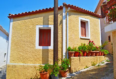Traditional houses at Kymi village Euboea Greece royalty free stock photography