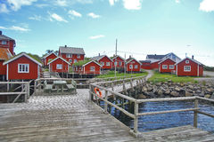 Traditional houses in Lofoten, Norway. Color image of some traditional houses in Reine, Lofoten Islands, Norway stock photo