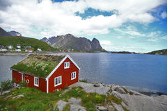 Traditional houses in Lofoten, Norway Stock Images