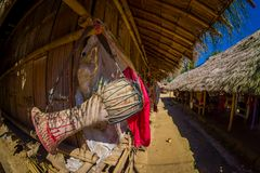 Traditional houses of Long Neck trib, Kayan Lahwi, northern Thailand. Fish eye effect Stock Images