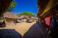 Traditional houses of Long Neck trib, Kayan Lahwi, northern Thailand. Fish eye effect Royalty Free Stock Images