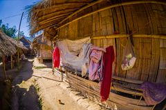 Traditional houses of Long Neck trib, Kayan Lahwi, northern Thailand. Fish eye effect Stock Image