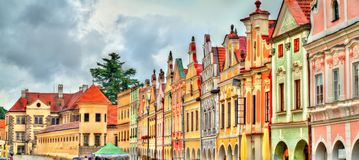 Traditional houses on the main square of Telc, Czech Republic. UNESCO heritage site Stock Images
