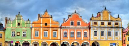 Traditional houses on the main square of Telc, Czech Republic. UNESCO heritage site Stock Image