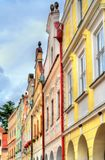Traditional houses on the main square of Telc, Czech Republic. UNESCO heritage site Royalty Free Stock Photography