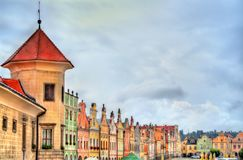 Traditional houses on the main square of Telc, Czech Republic Royalty Free Stock Photo