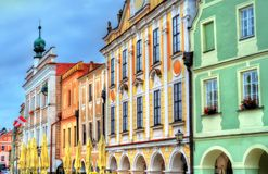 Traditional houses on the main square of Telc, Czech Republic Stock Photography
