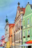 Traditional houses on the main square of Telc, Czech Republic Stock Image