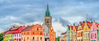 Traditional houses on the main square of Telc, Czech Republic. UNESCO heritage site Stock Photo