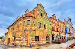 Traditional houses on the main square of Telc, Czech Republic. UNESCO heritage site Royalty Free Stock Photos