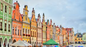 Traditional houses on the main square of Telc, Czech Republic Stock Photos
