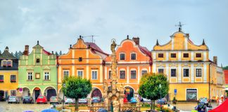 Traditional houses on the main square of Telc, Czech Republic Royalty Free Stock Image