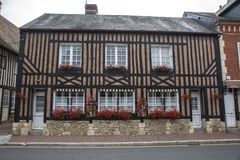 Traditional houses in medieval village of Beuvron en Auge in Normandy France stock photo