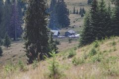 Calimani National Park - 12 Apostles. Traditional houses in the mountains of Bucovina Royalty Free Stock Photo