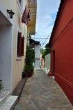 Traditional houses narrow alley Stock Images