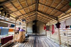 Traditional houses of the native people of indonesia in village. Kalimantan stock photo