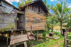 Traditional houses of the native people of indonesia in village. Kalimantan royalty free stock photo