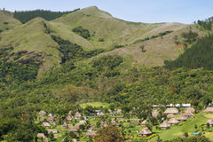 Traditional houses of Navala village, Viti Levu, Fiji Royalty Free Stock Image