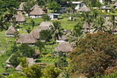 Traditional houses of Navala village, Viti Levu, Fiji Stock Photos