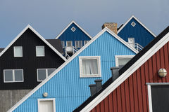 Traditional houses in Nuuk, Greenland royalty free stock image