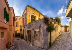 Traditional houses and old buildings at the village of Archanes, Heraklion, Crete. Stock Images