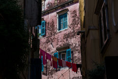 Traditional houses in old town of Corfu island, Greece Royalty Free Stock Image