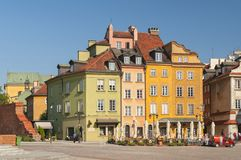 Traditional houses in the old Town Market place in Warsaw, Poland. stock photo