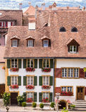 Traditional houses in Old Town Murten, Switzerland Royalty Free Stock Photos