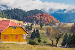 Traditional houses in romanian mountains Stock Images