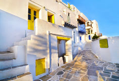 Traditional houses and shops at the castle of Sifnos island Greece royalty free stock photography