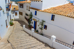 Traditional houses and steps in Altea. Spain Stock Photos