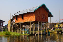 Traditional houses on stilts Royalty Free Stock Photos