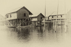 Traditional houses on stilts Stock Image