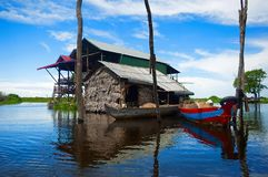 Traditional houses on stilts. Kampong Phluk village Siem Reap, Northern-central Cambodia stock photo