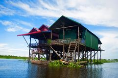 Traditional houses on stilts. Kampong Phluk village Siem Reap, Northern-central Cambodia. Village built on stilts on the Tonle Sap Stock Photography