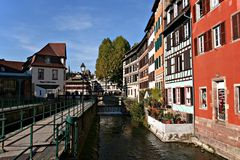 Traditional houses in Strasbourg. A wide angle shot of raditional houses in Strasbourg, France Royalty Free Stock Image