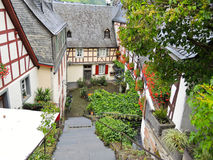 Traditional houses on street in german village Stock Images
